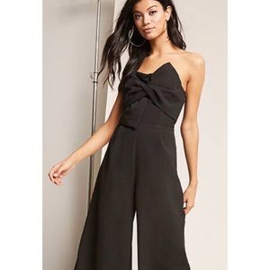 Black Knotted Tube Top Cropped Jumpsuit Size Med